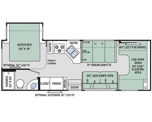28' Class C Motorhome Floorplan